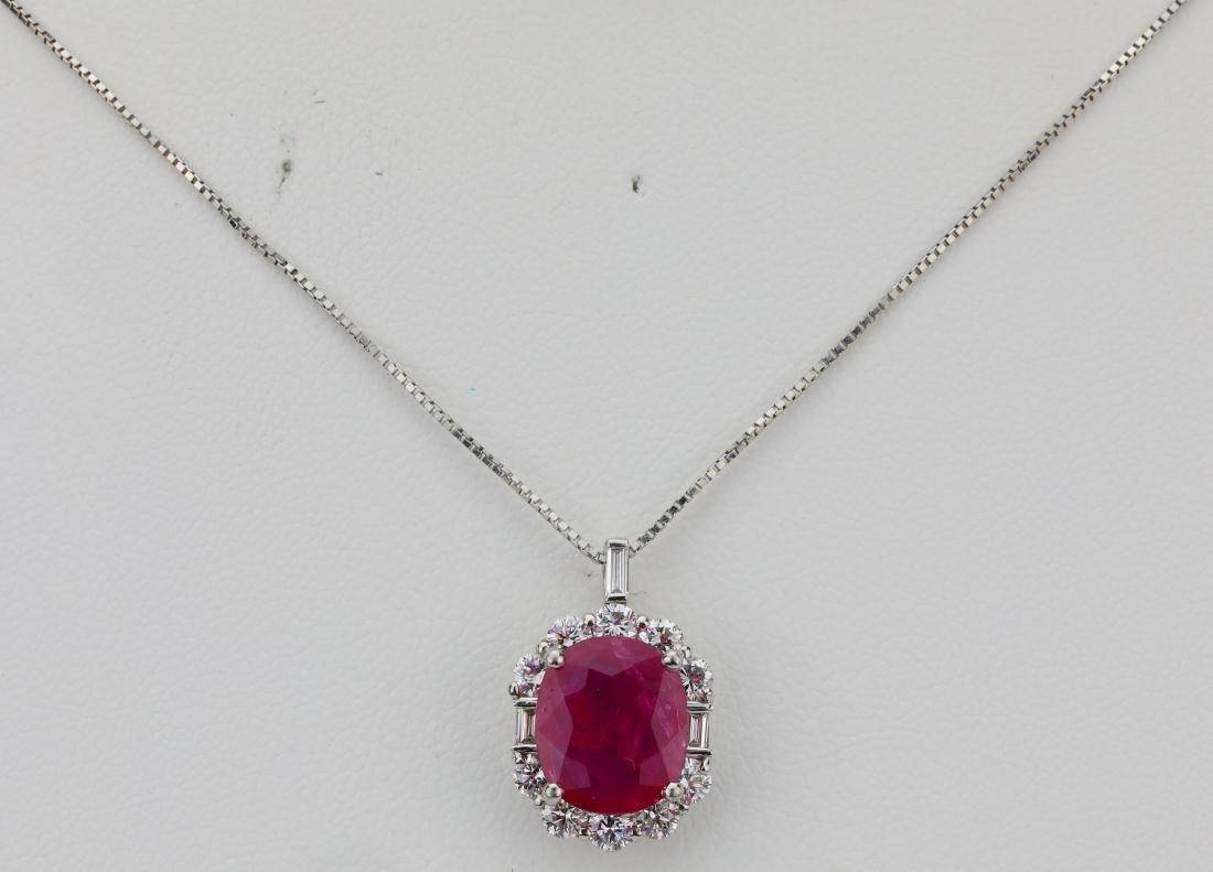 3.57ct GIA Ruby, 1.15ctw Diamond & Platinum Necklace