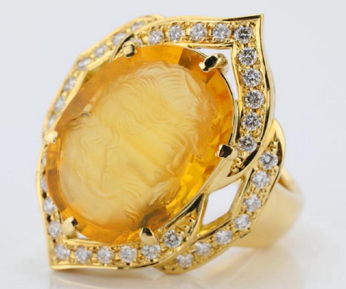12ct Citrine Cameo, 1ctw Diamond & 18K Ring - 4