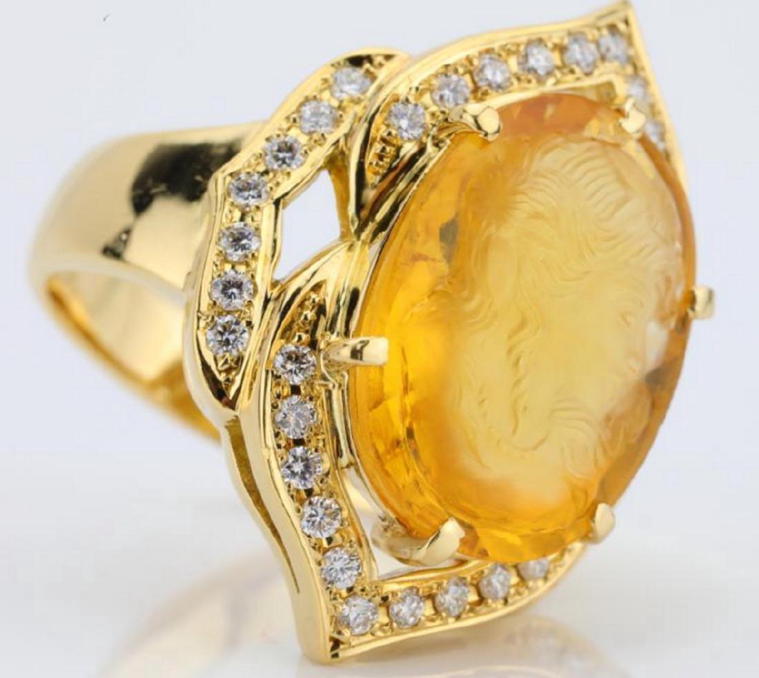 12ct Citrine Cameo, 1ctw Diamond & 18K Ring - 5