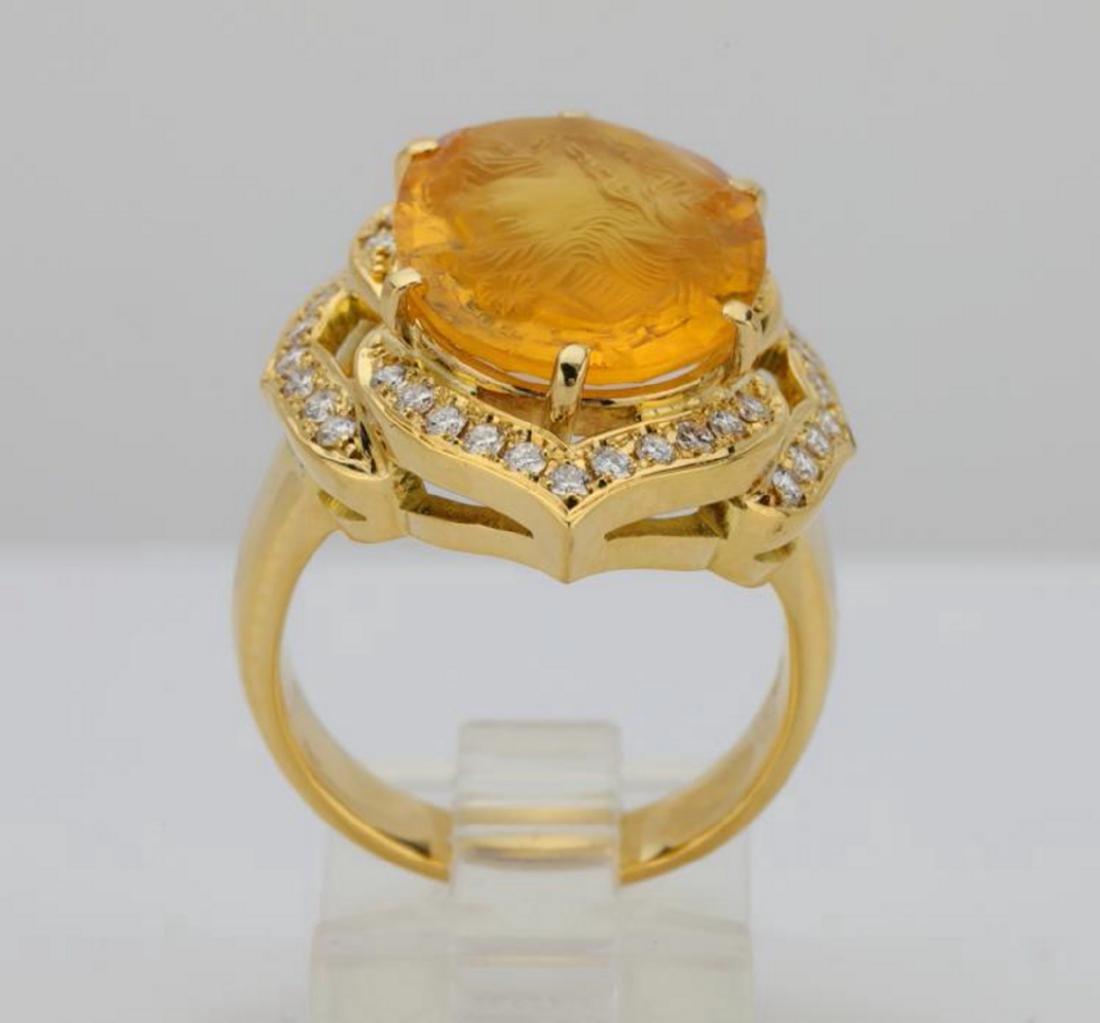 12ct Citrine Cameo, 1ctw Diamond & 18K Ring - 8