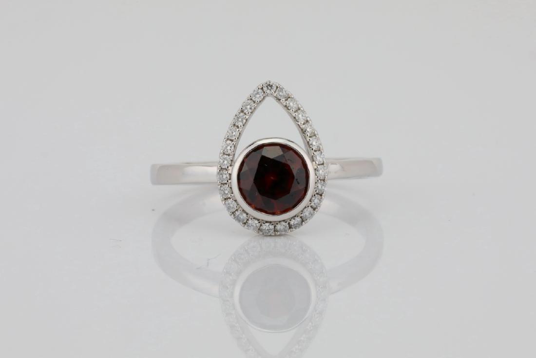 1.25ct Red Zircon & 14K Ring W/0.15ctw Diamonds