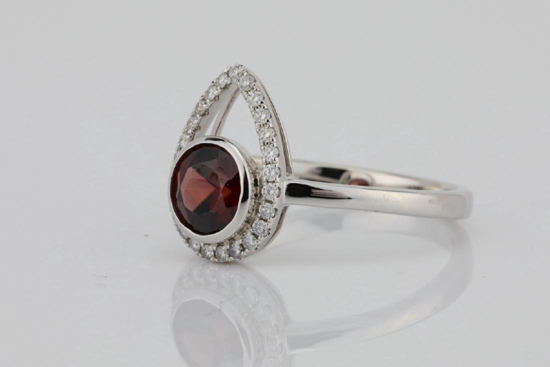 1.25ct Red Zircon & 14K Ring W/0.15ctw Diamonds - 2