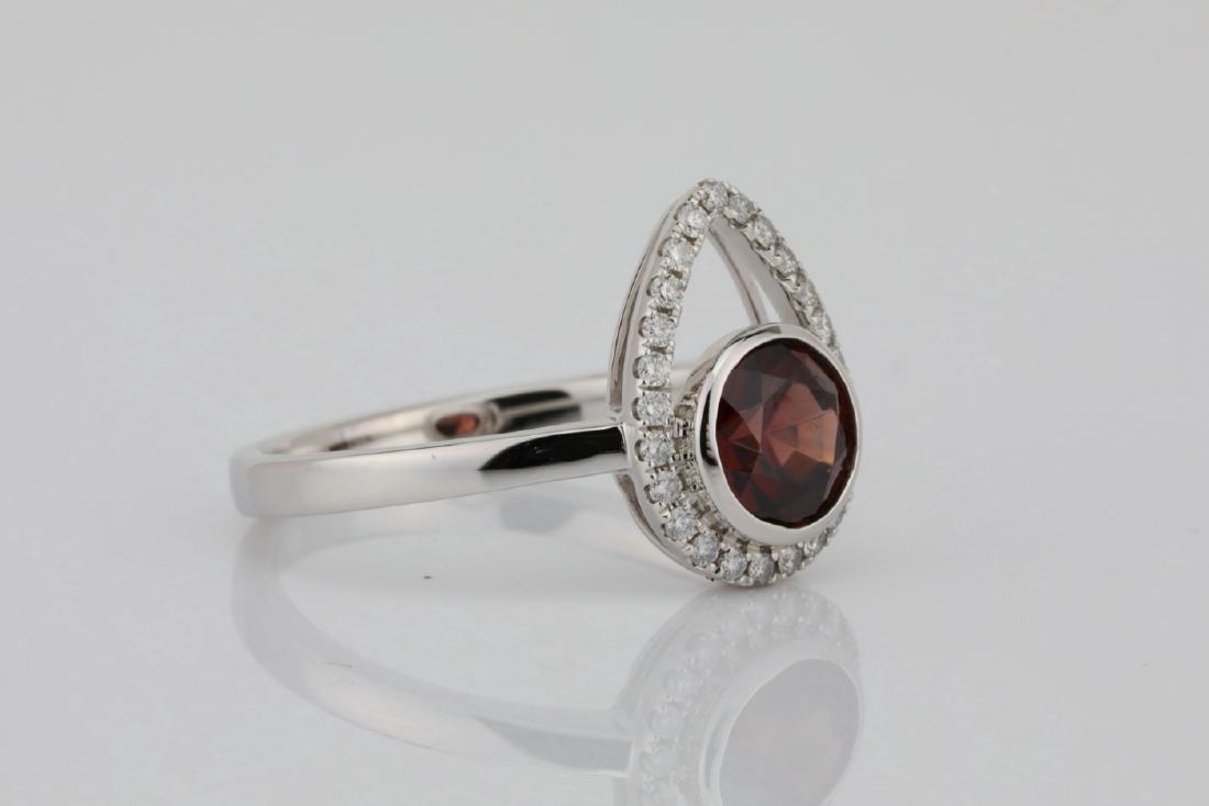 1.25ct Red Zircon & 14K Ring W/0.15ctw Diamonds - 3