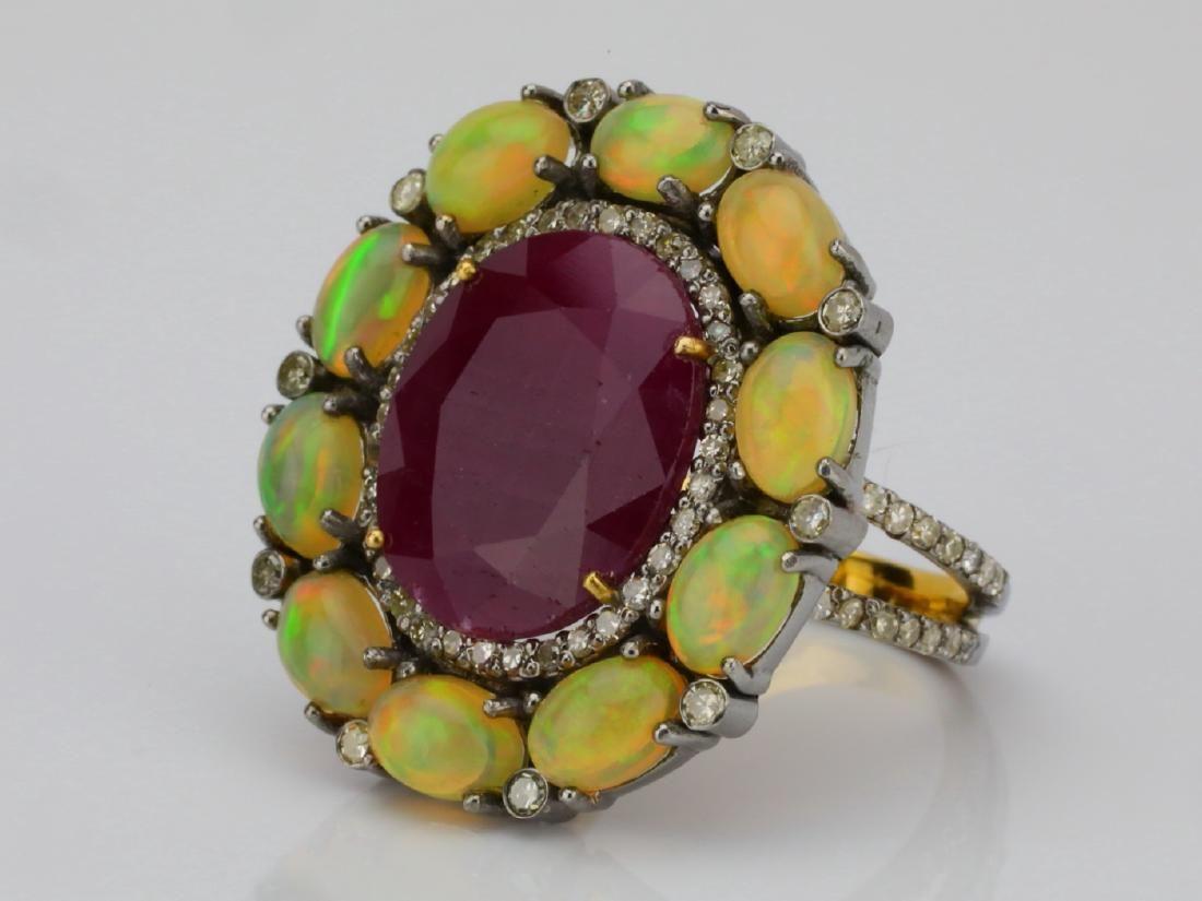 14.15ct Ruby, Opal & Diamond 14K Yellow Gold Ring