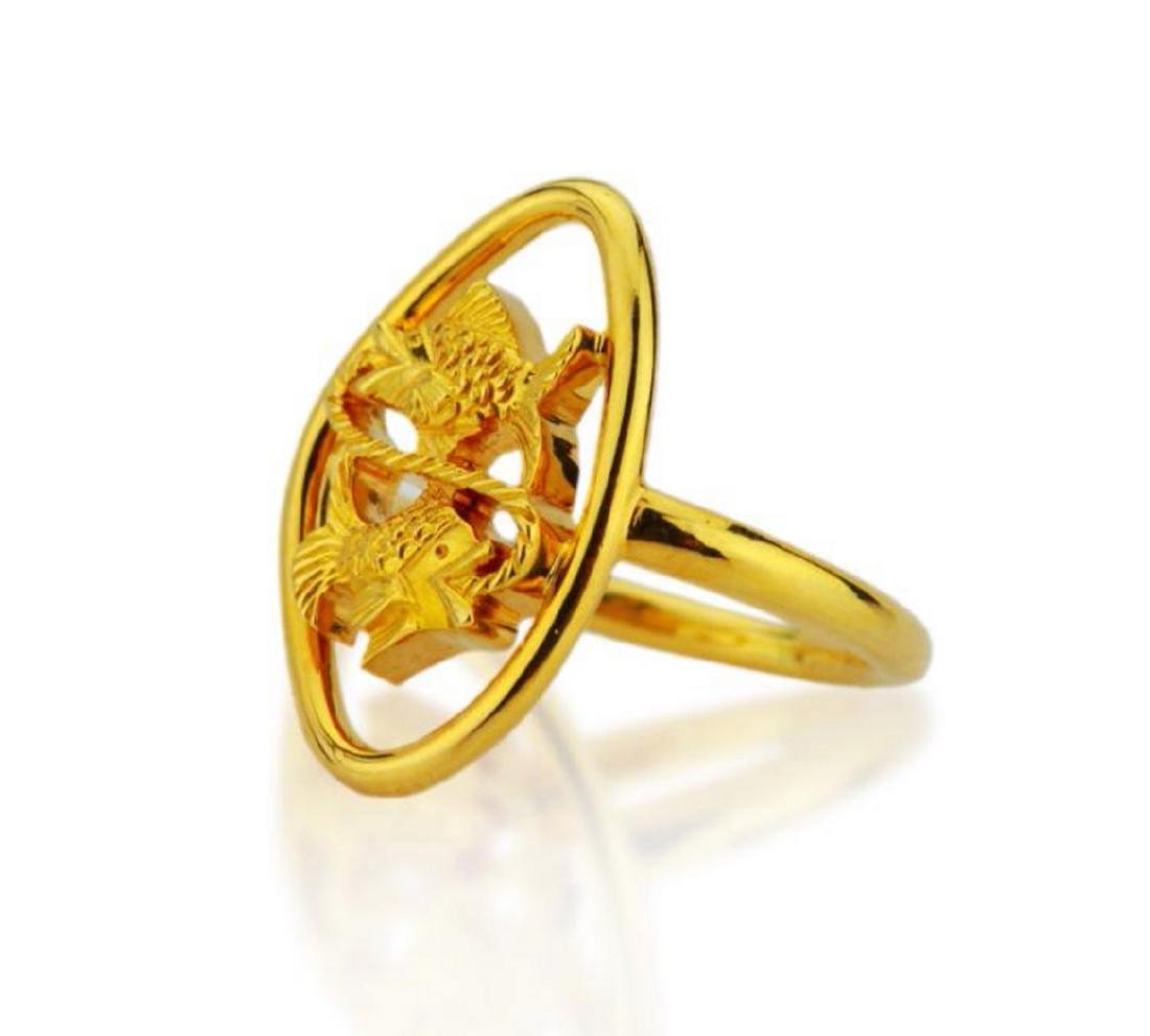 Boucheron 18K Yellow Gold Dueling Fish Ring - 2