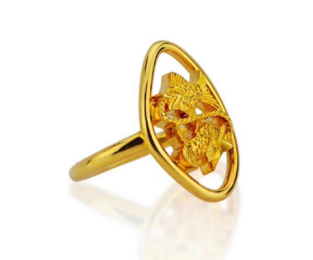 Boucheron 18K Yellow Gold Dueling Fish Ring - 3
