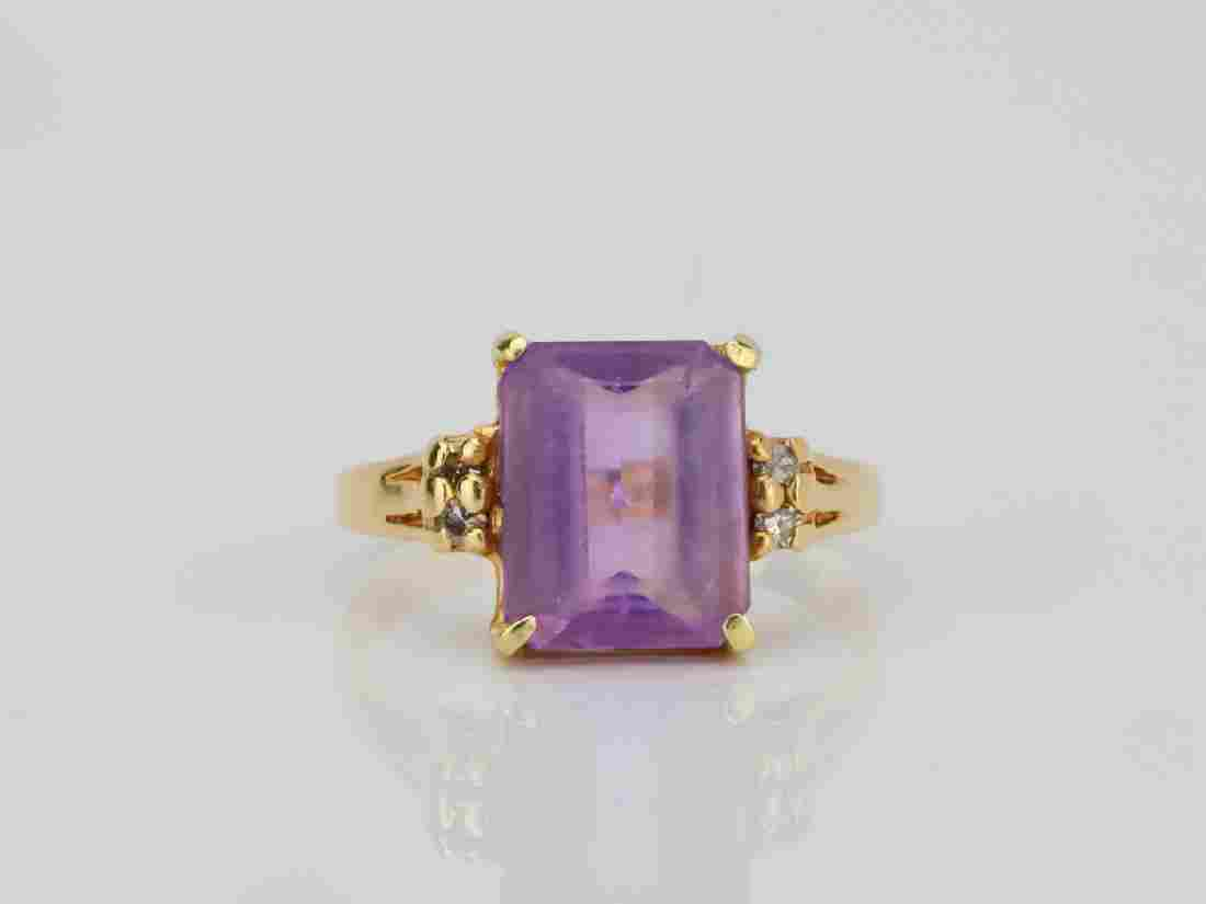 3.25ct Amethyst & 14K Ring W/Diamond Accents