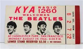 The Beatles Final Concert August 29, 1966 Ticket W/COA