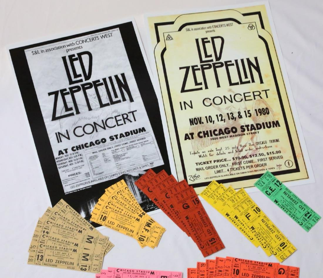 Led Zeppelin (30) Unused 1980 Concert Tickets & Posters
