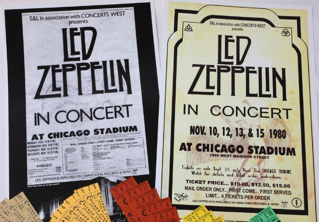 Led Zeppelin (30) Unused 1980 Concert Tickets & Posters - 2
