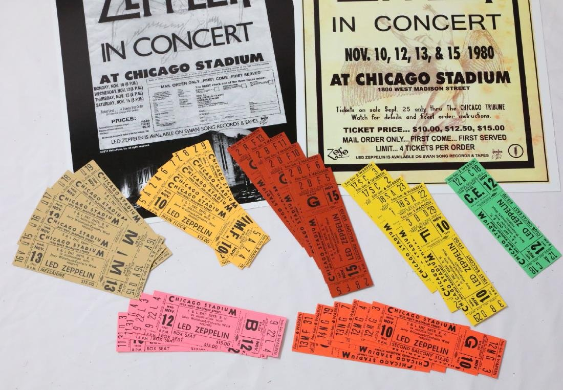 Led Zeppelin (30) Unused 1980 Concert Tickets & Posters - 3
