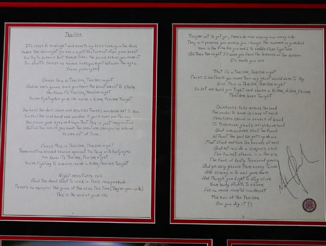 Michael Jackson Handwritten Signed Lyrics for - 2