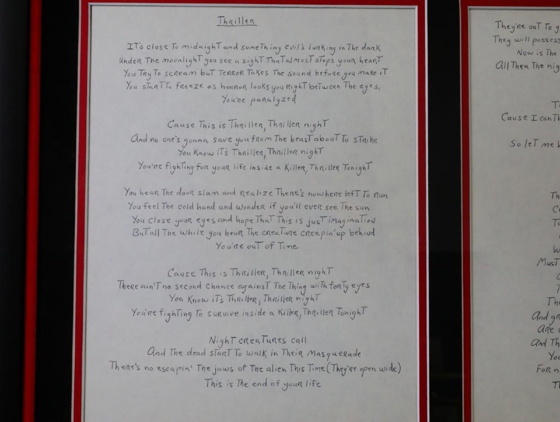 Michael Jackson Handwritten Signed Lyrics for - 3
