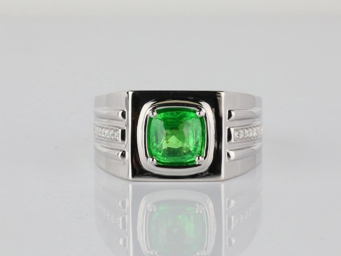 2.15ct Tsavorite Garnet & 14K Ring W/Diamonds