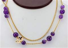 8mm10mm Amethyst Bead  18K Necklace WDetaching