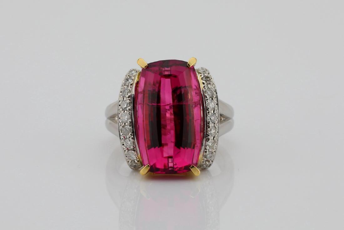 10.91ctw Pink Tourmaline & Diamond Platinum Ring