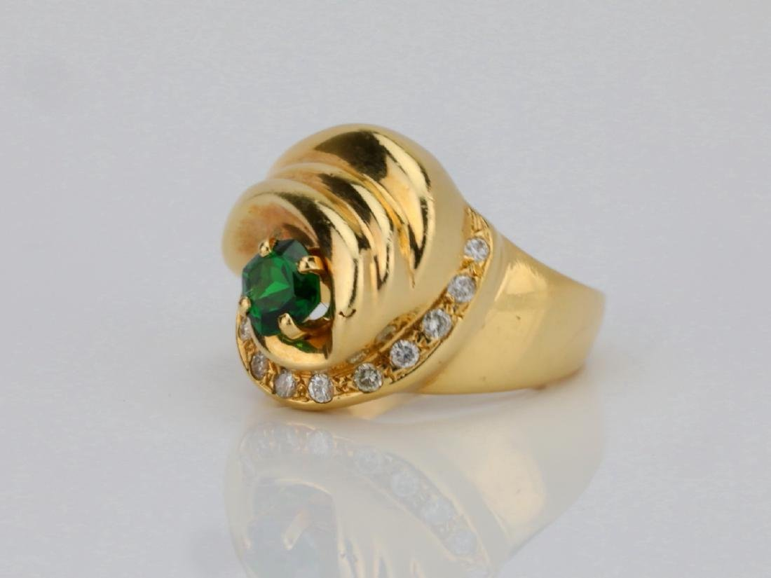 14K Yellow Gold Ring W/Tsavorite Garnet & Diamonds - 2