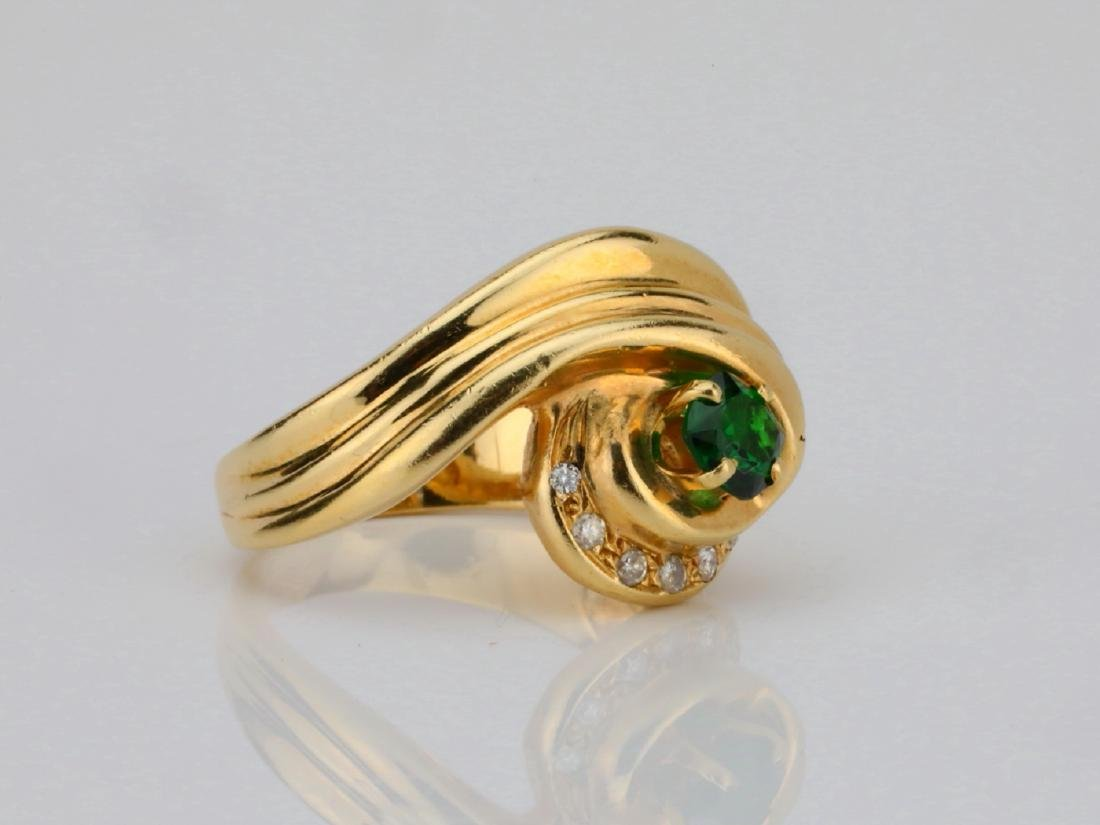14K Yellow Gold Ring W/Tsavorite Garnet & Diamonds - 3
