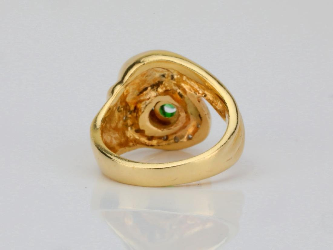 14K Yellow Gold Ring W/Tsavorite Garnet & Diamonds - 4