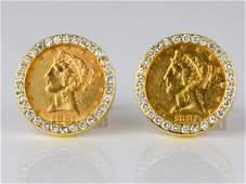 5 Liberty Head Coin 18ctw Diamond 14K Cufflinks