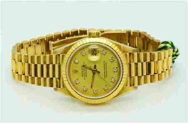Rolex Lady Datejust 18K Watch W/Diamond Markers