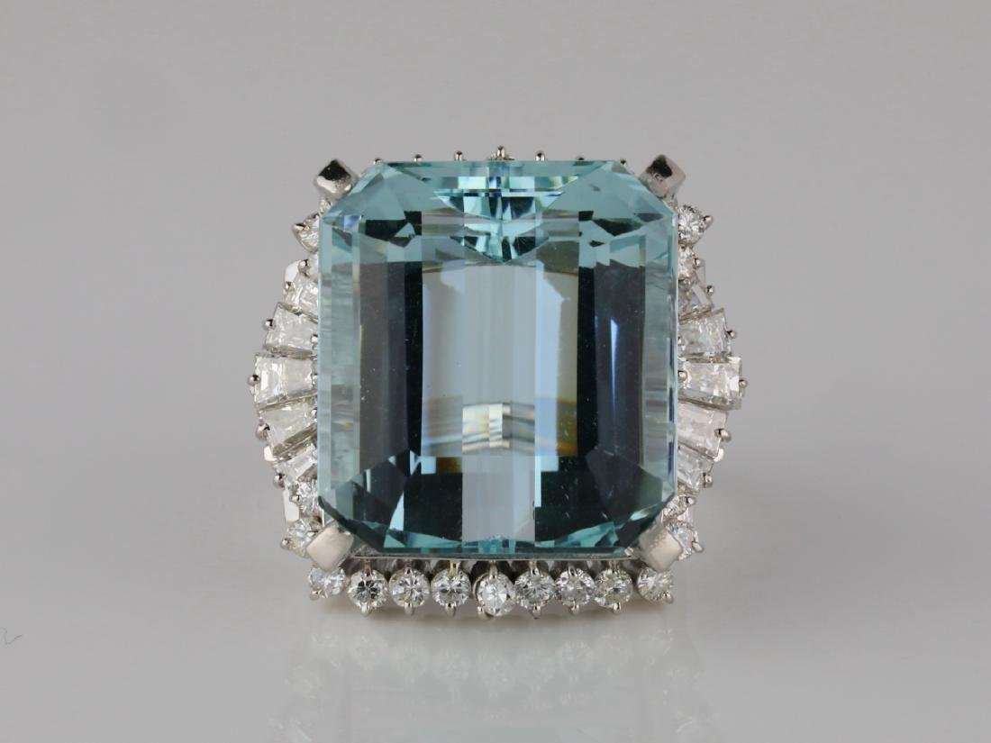 33.3ct Aquamarine, 2.00ctw Diamond & Platinum Ring