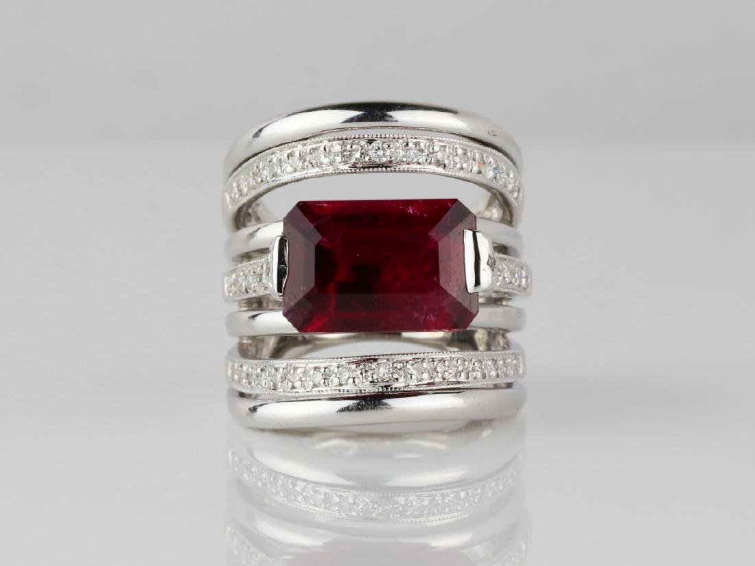 5.85ct Rubellite, 0.50ctw Diamond & 18K Ring