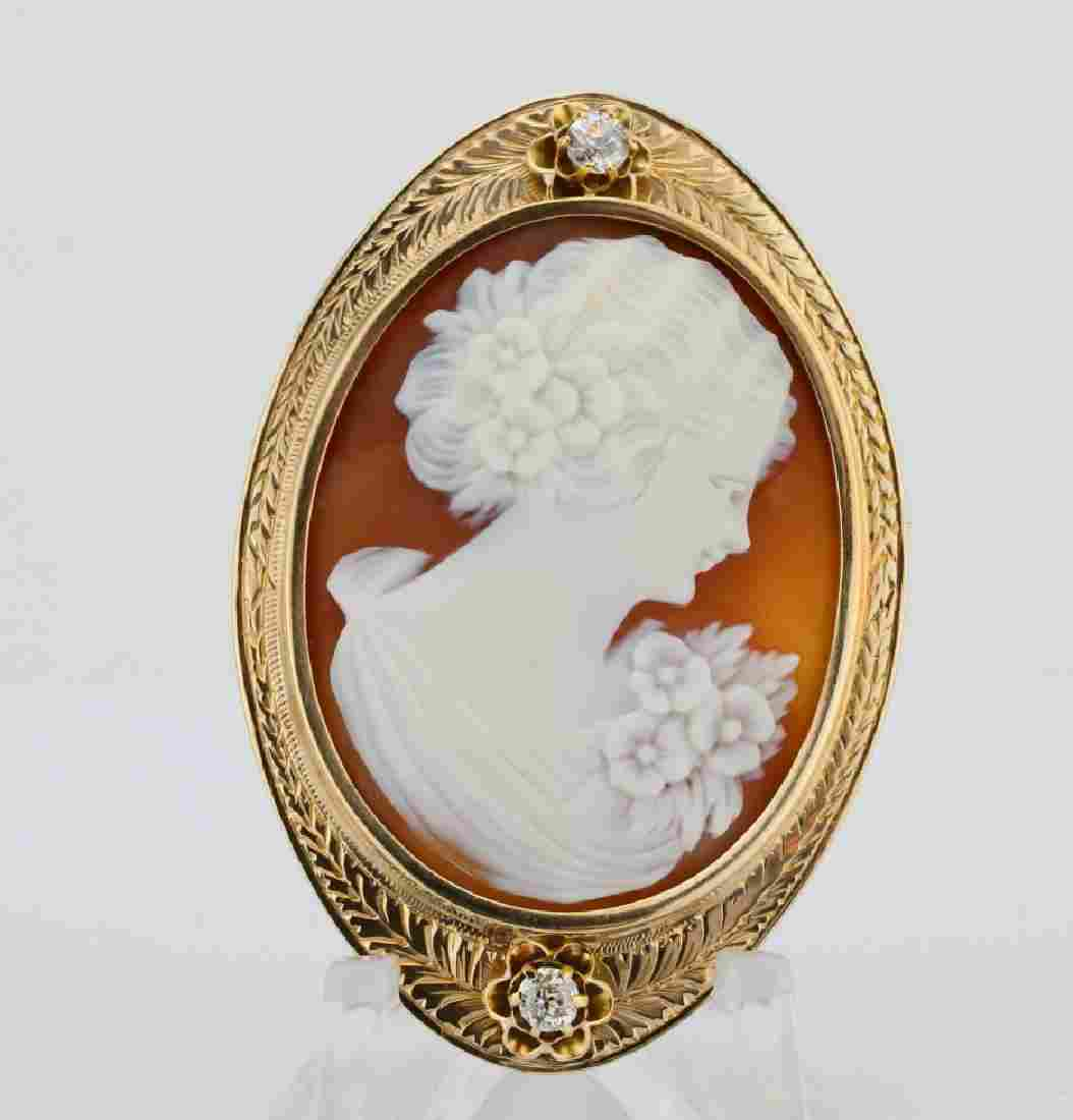 Antique Shell Cameo, 0.30ctw Diamond & 14K Brooch