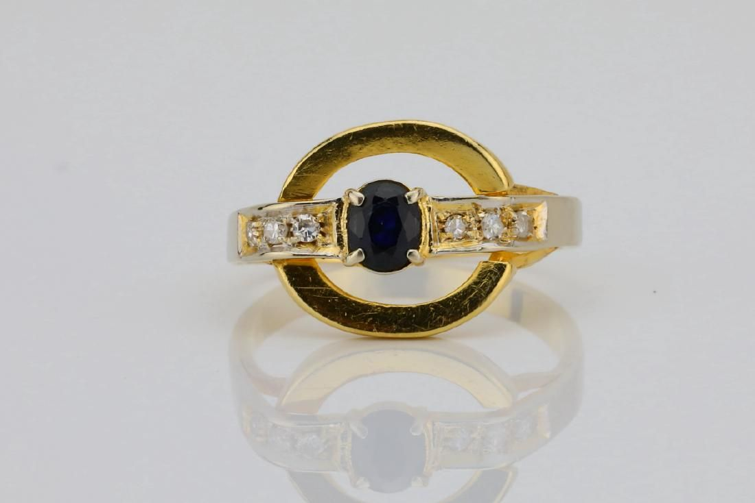 18K & 0.25ct Blue Sapphire Disc Ring W/Diamonds