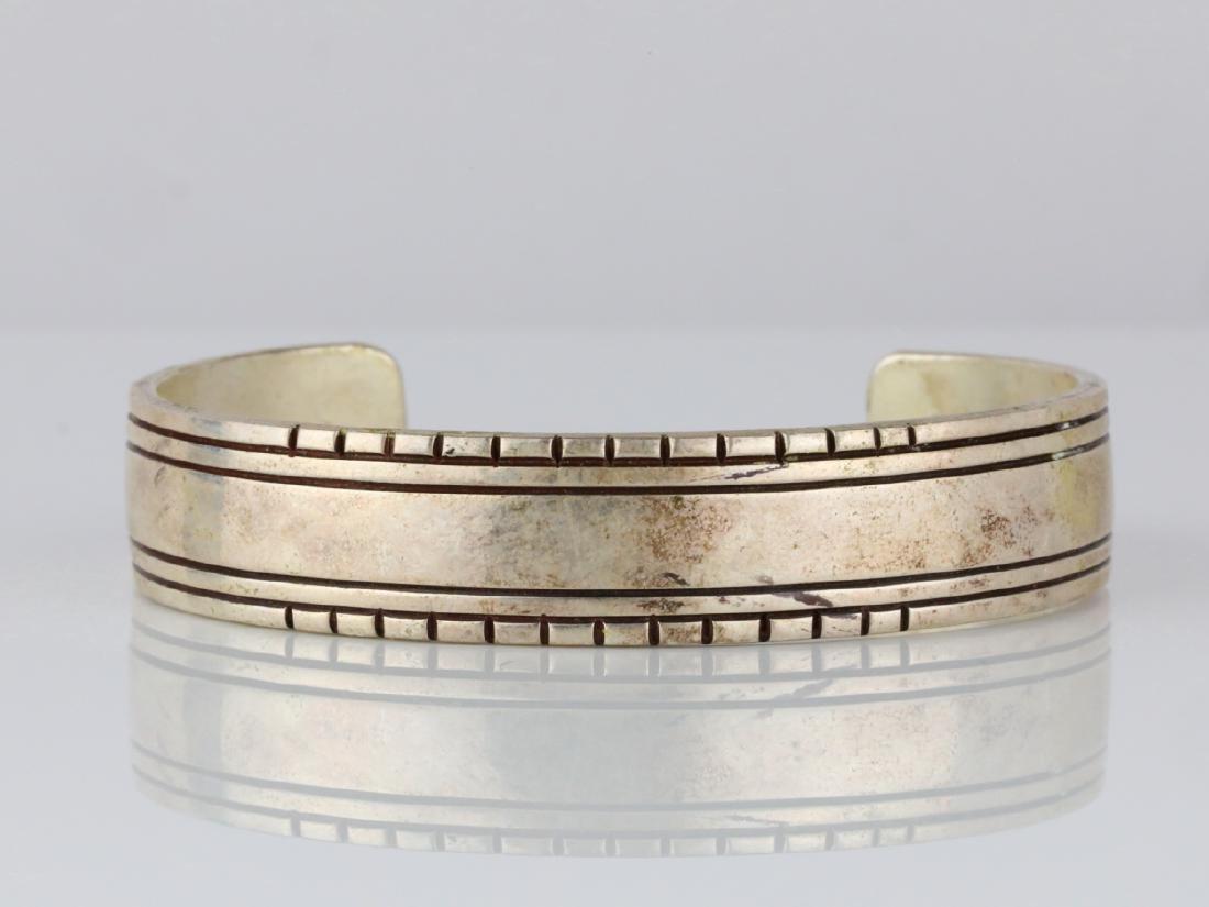 Charlie John Navajo Sterling Silver Cuff Bracelet