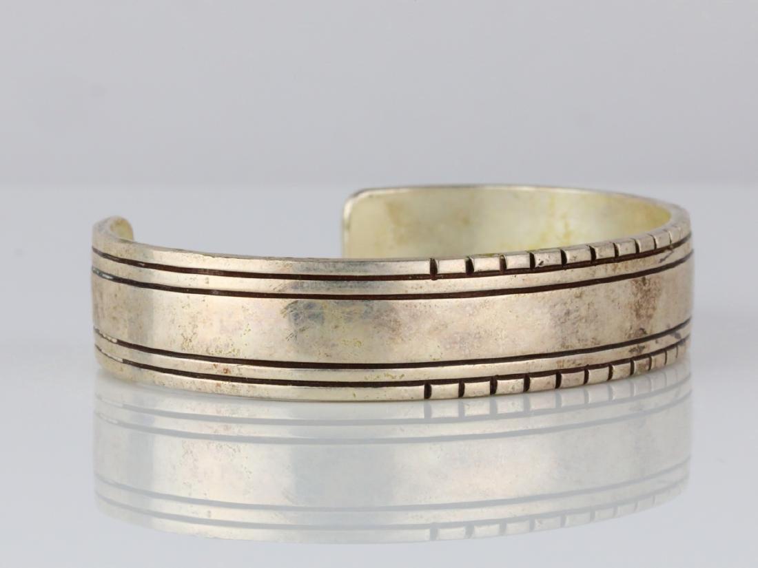 Charlie John Navajo Sterling Silver Cuff Bracelet - 3