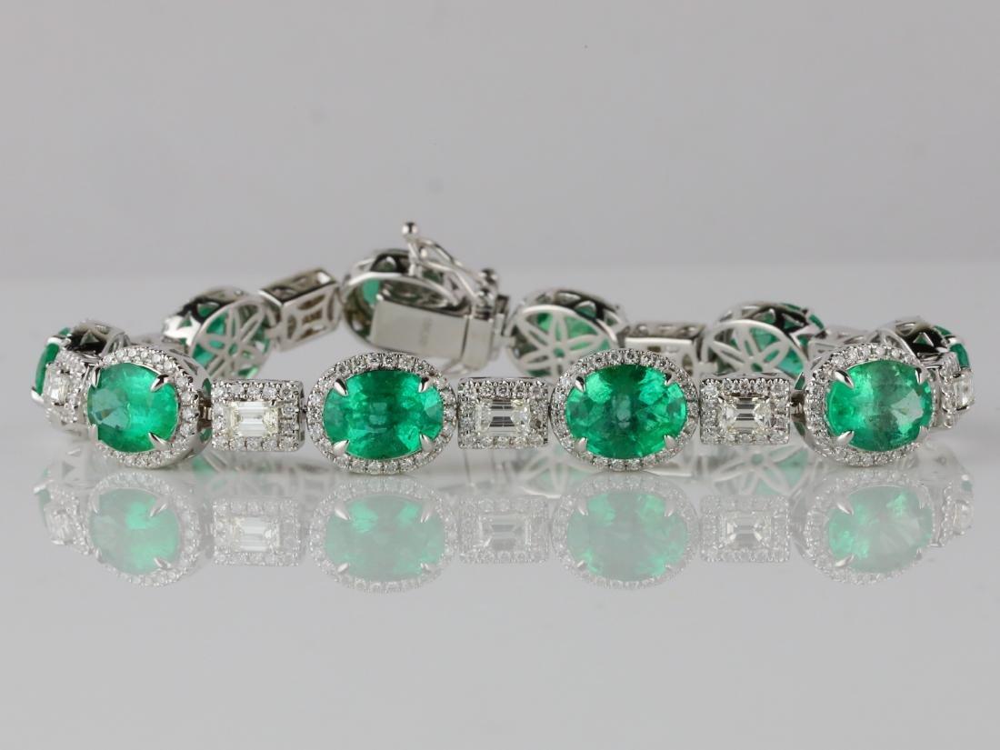 16ctw Emerald, 4ctw Diamond & 18K Bracelet