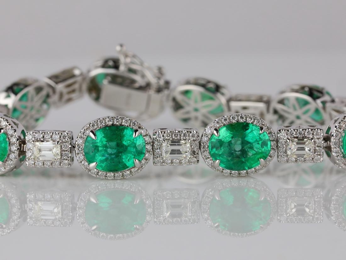 16ctw Emerald, 4ctw Diamond & 18K Bracelet - 2