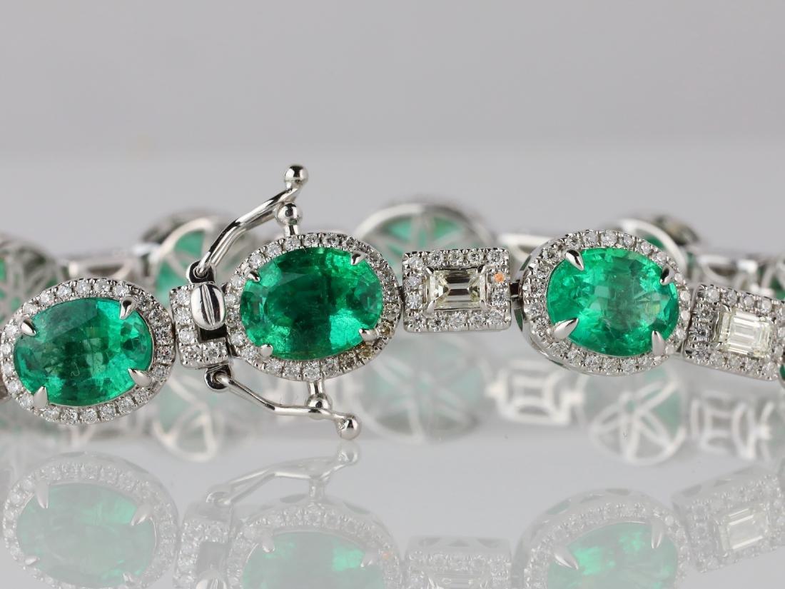 16ctw Emerald, 4ctw Diamond & 18K Bracelet - 4