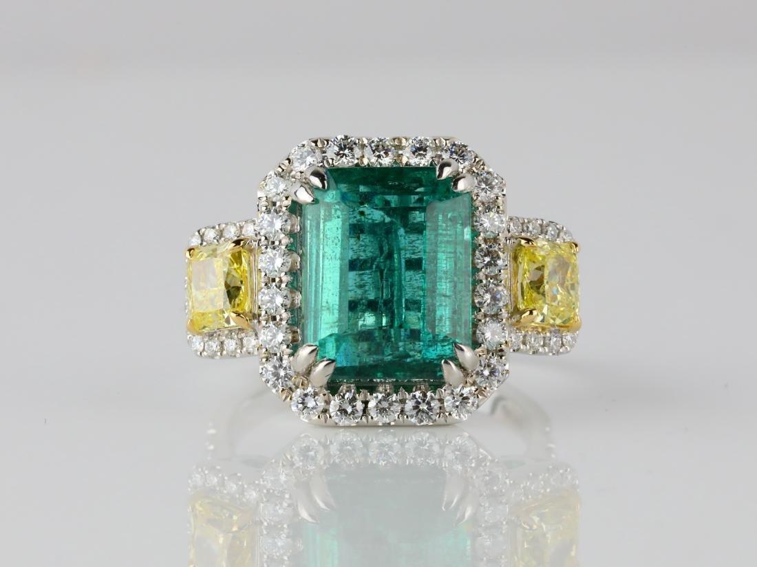 6.65ct Emerald, 2.15ctw Diamond & 18K Ring