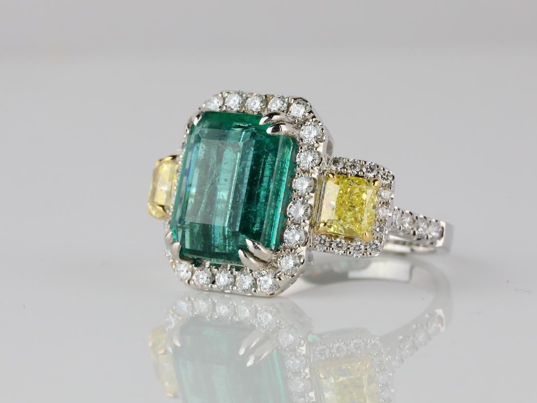 6.65ct Emerald, 2.15ctw Diamond & 18K Ring - 2