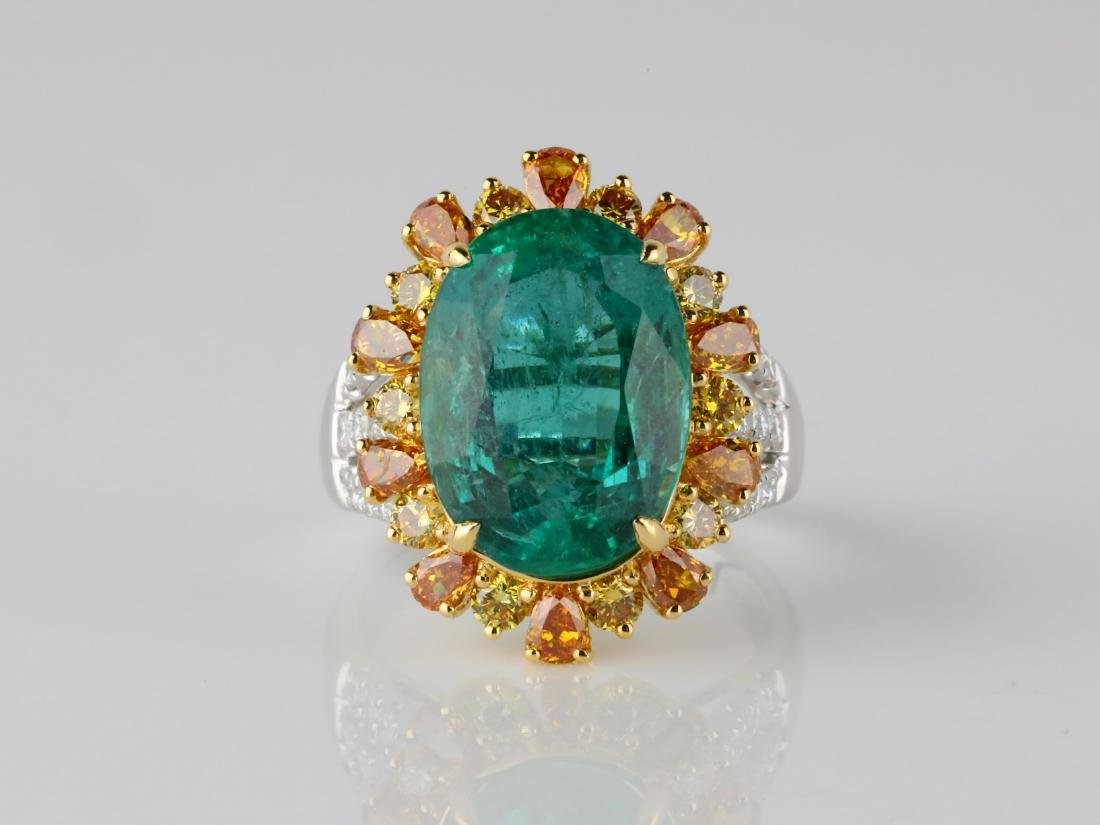 8.50ct Emerald, 2ctw VS2-SI1 Diamond & 18K Ring