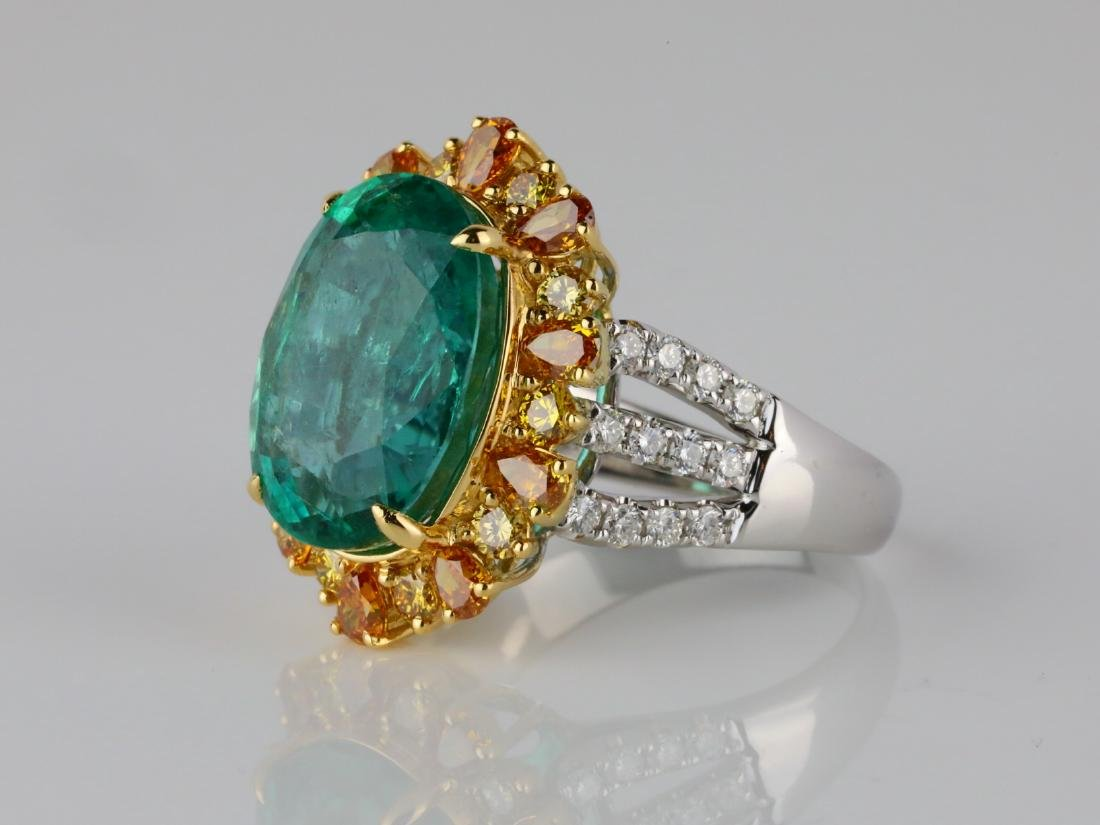 8.50ct Emerald, 2ctw VS2-SI1 Diamond & 18K Ring - 2