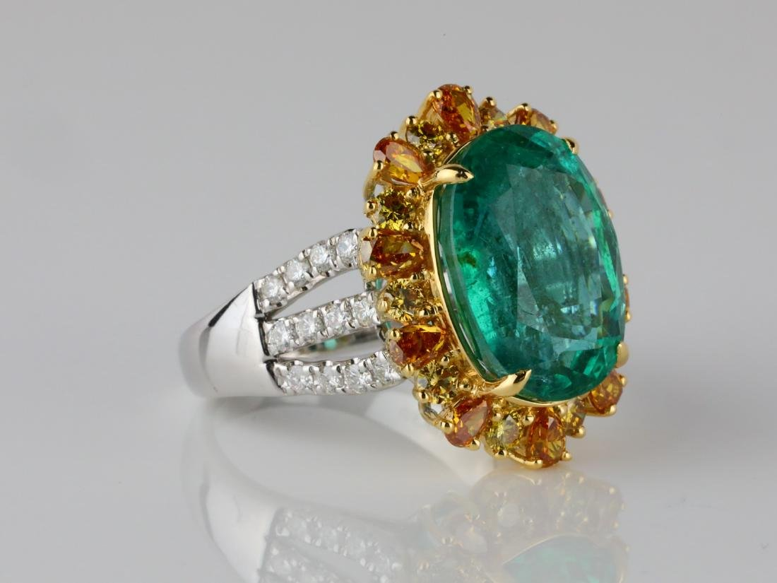8.50ct Emerald, 2ctw VS2-SI1 Diamond & 18K Ring - 3