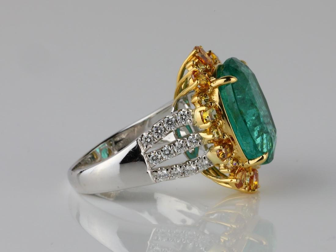 8.50ct Emerald, 2ctw VS2-SI1 Diamond & 18K Ring - 5