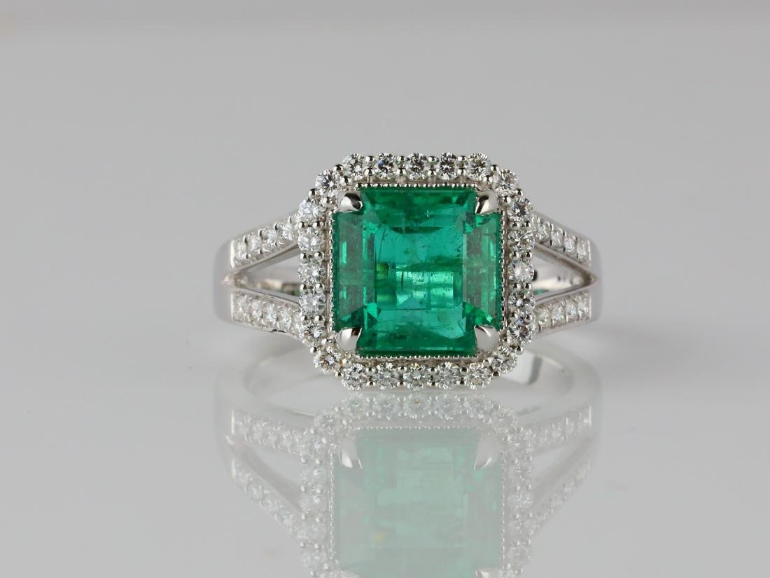 3.30ct Emerald, 0.50ctw Diamond & 18K Ring
