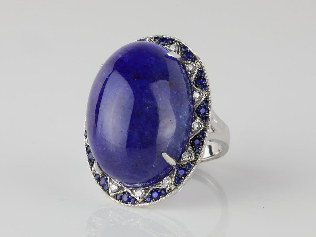 59.8ct Tanzanite, .95ctw Sapphire/Diamond 14K Ring