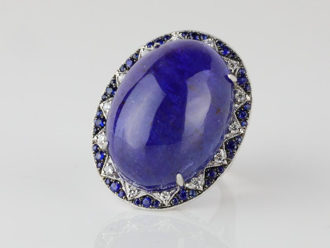 59.8ct Tanzanite, .95ctw Sapphire/Diamond 14K Ring - 2