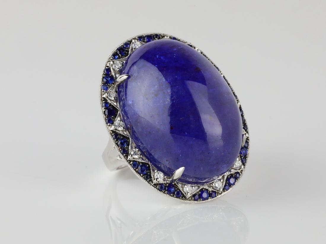 59.8ct Tanzanite, .95ctw Sapphire/Diamond 14K Ring - 3