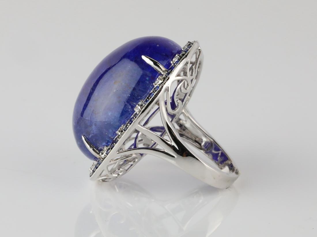 59.8ct Tanzanite, .95ctw Sapphire/Diamond 14K Ring - 4
