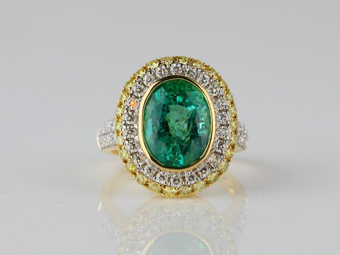 5.35ct Emerald, 1.40ctw Diamond & 18K Ring