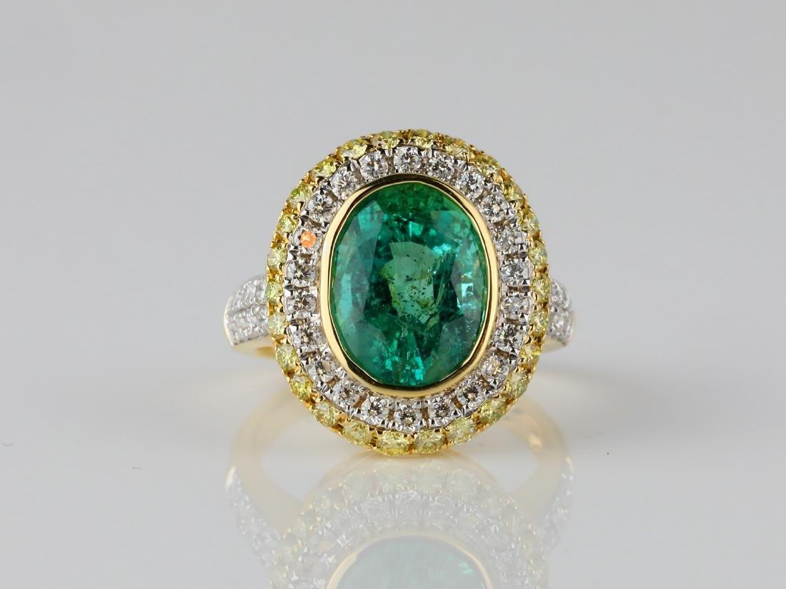5.35ct Emerald, 1.40ctw Diamond & 18K Ring