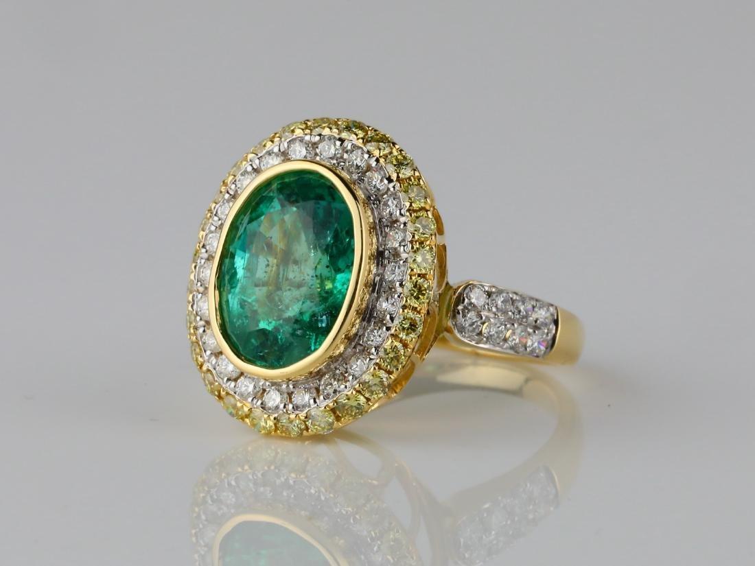 5.35ct Emerald, 1.40ctw Diamond & 18K Ring - 2