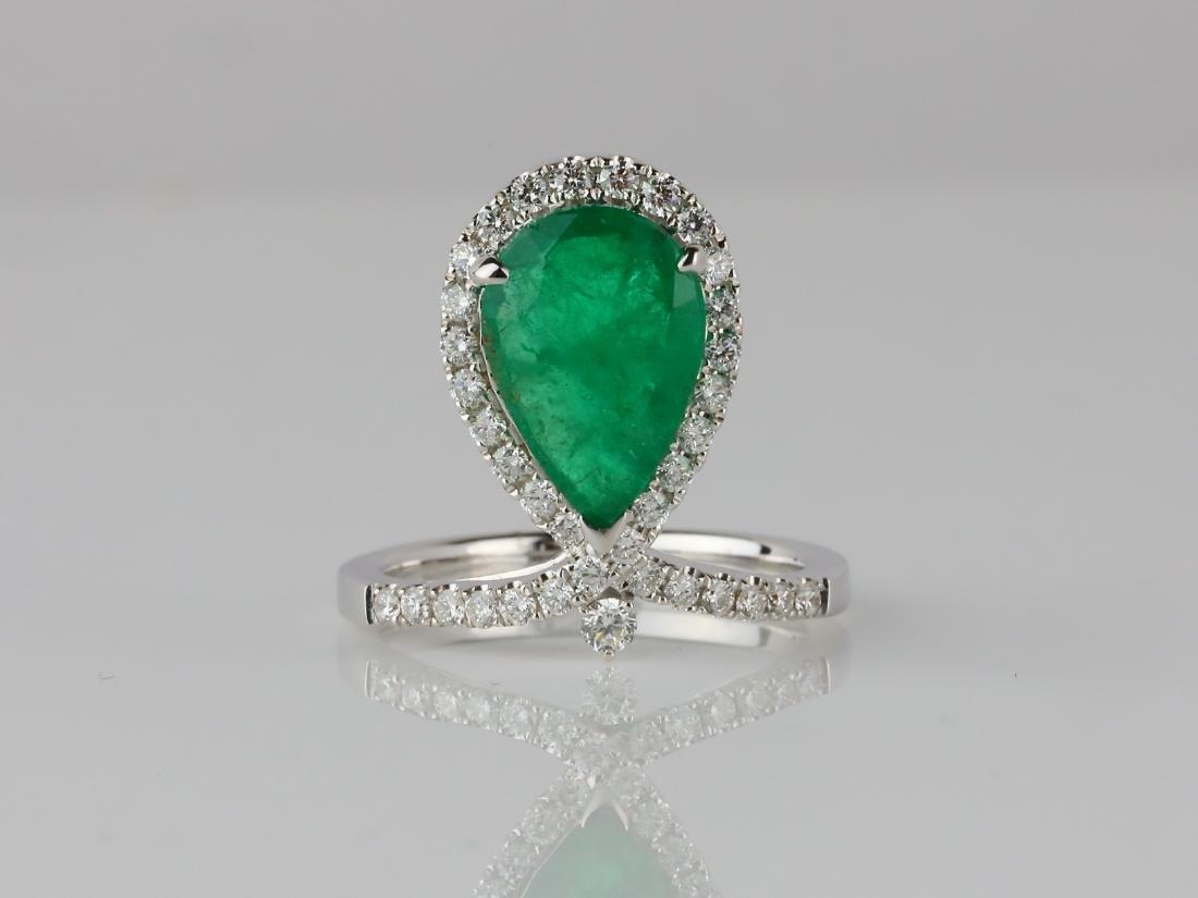 3ct Emerald, .60ctw SI1-SI2/G-H Diamond 14K Ring