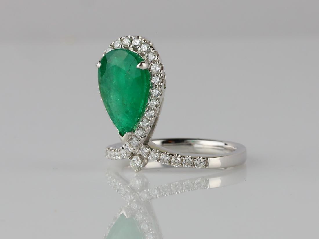 3ct Emerald, .60ctw SI1-SI2/G-H Diamond 14K Ring - 2